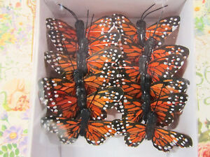 12-Polyester-1-5-Craft-Monarch-Butterfly-w-Wire-Floral-Decoration-L68-Orange