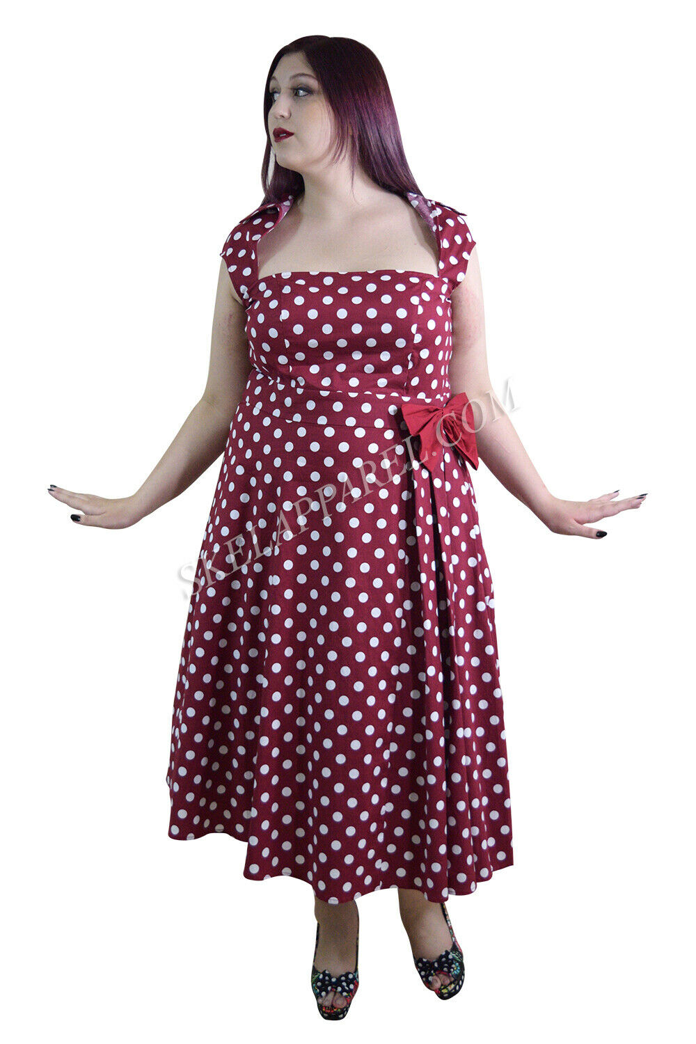 60's Retro Rockabilly Pin-up rot and Weiß Polka Dot Belted bow Party Dress