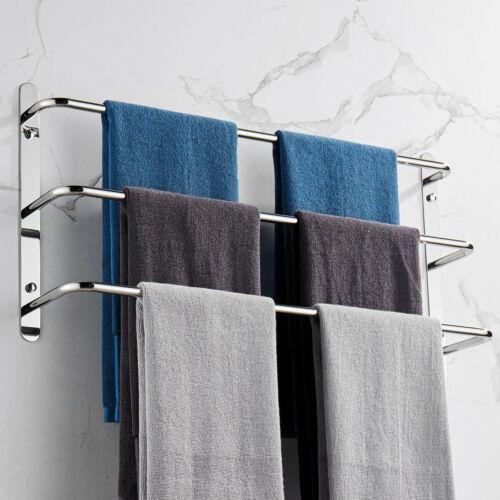 THREE Stagger Layers Towel Rack 304 Stainless Steel Towel Bars Bathroom Accessor