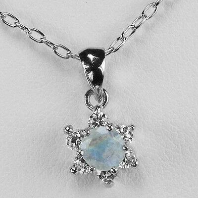 Genuine Rainbow Moonstone Sterling Silver Solitaire W Accent Pendant (p291)