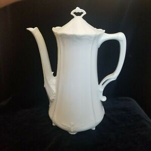 Tirschenreuth-Baronesse-Embrossed-Scalloped-White-COFFEE-POT-Germany