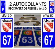 2 STICKERS RECOUVERTE DE RESINE PLAQUE D IMMATRICULATION DEPARTEMENT 67 ALSACE