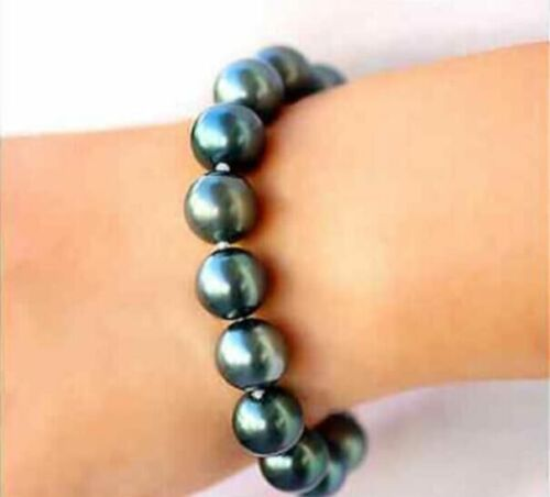 "HUGE 7.5/""-8/"" 11-12mm south sea genuine black green siver round pearl bracelet"