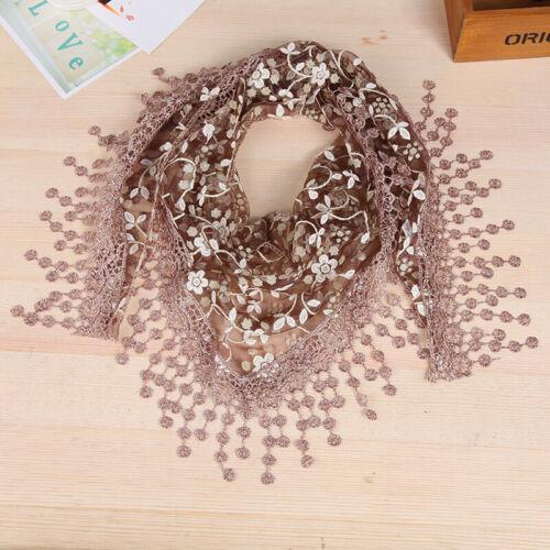 Femmes Lady dentelle Sheer gland foulard imprimé floral Triangle Châle Mantille Wrap