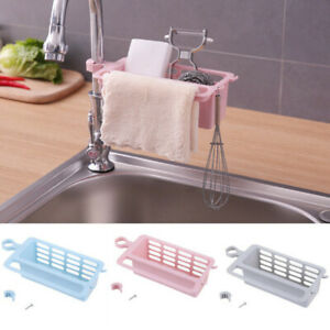 Details about Sponge Holder Kitchen Sink Around Faucet Shelf Pool  Adjustable Storage Rack SH