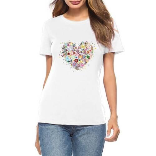 Floral Heart Iron On Patch Heat DIY Transfer Sticker Applique T-Shirt Decoration