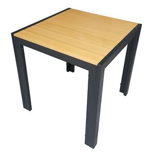 Sehr Alu Gartentisch 70x70 cm Polywood Esstisch Holzoptik schwarz MO17
