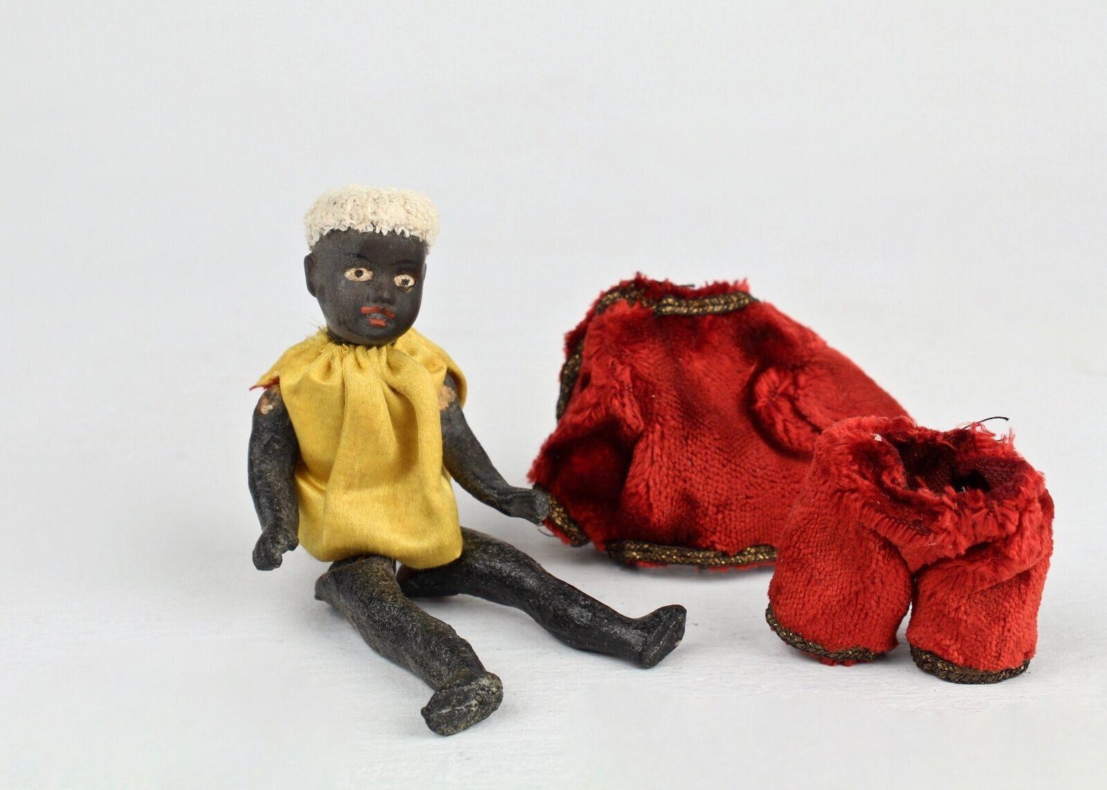 Antiguo Pequeño Gebruder Kuhnlenz Negro cabeza de Biscuit muñeca 34-12 - ropa vieja VR