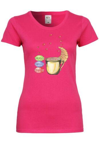UL39 F288N Damen T-Shirt mit Motiv in Love with CroissantBaumwolle Design