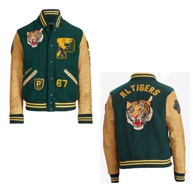 L Tiger Leather Varsity Polo Stadium Jacket Lauren Letterman Ralph Football Wing XiPkuZ