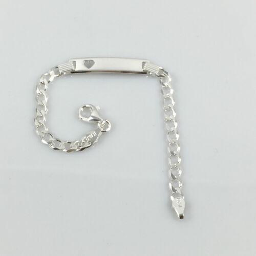 """925 Sterling Silver Personalised BabyCurb ID Bracelet 5.5/"""" 4.40gr Free Engraving"""
