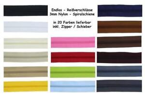 5-Meter-10-Zipper-Endlos-Reissverschluesse-3mm-Reissverschluss-Nylon-Spiral-fein
