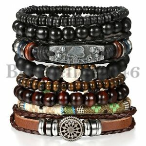 8pcs Set Black Skull Brown Tribal Leather Cuff Wristband Bracelet for Men Women