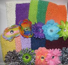 "NEW Girls  6"" Kids Crochet elastic TUTU Top Lot  of  10  &  10 craft FLOWERS"