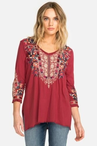 Johnny Was JWLA V Neck Embroidered Claude 3//4 Knit Drape Top Boho J18918 NEW