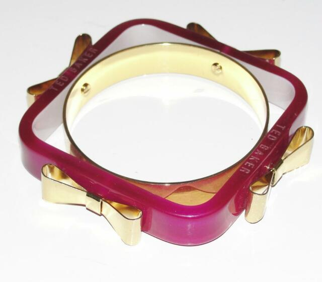TED BAKER~PURPLE~ACRYLIC SQUARE *GOLD METAL BOWS* FASHION BANGLE BRACELET