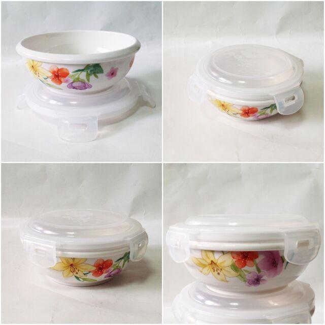 Ceramic Porcelain Airtight Sanitary Food Storage Bowl PP Lid Safe