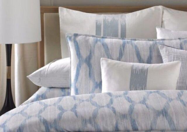 BARBARA BARRY Alpen Stitch Delft EMBROIDERED EURO PILLOW SHAM White Blue