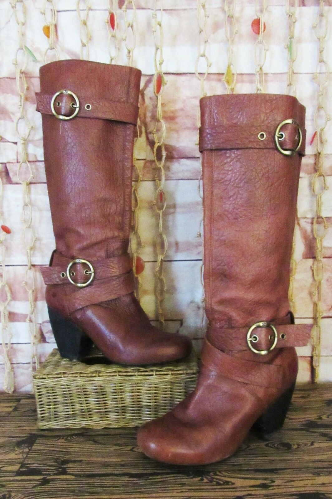 Lucky Brand Knee High Double Buckle Strap Boots Brown Pebbled Leather Sz. 9.5.