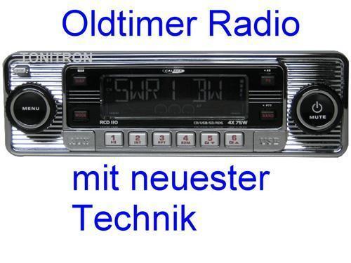 """Retro Look Radio""""altes Autoradio""""chrom Oldtimer VW Bus Bulli T1 T2 T3 Kübel 181"""