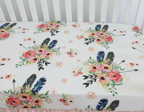 Baby Girl Floral Fitted Crib Sheet Toddler Bed Mattresses fits Standard Crib