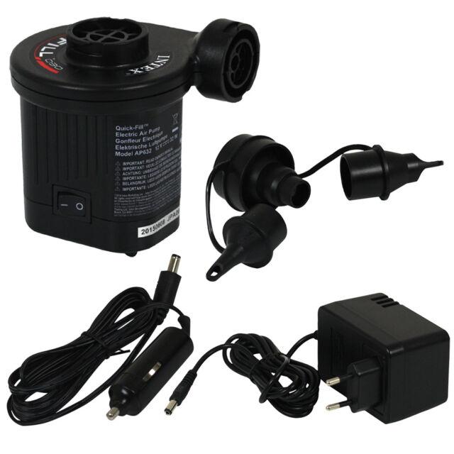 Quick Fill Elektrische Luftpumpe 12V + 230V + 3 verschiedene Adapter von INTEX