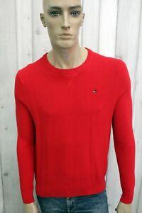 TOMMY-HILFIGER-Maglione-Uomo-Taglia-M-Cardigan-Rosso-Cotone-Pullover-Sweater