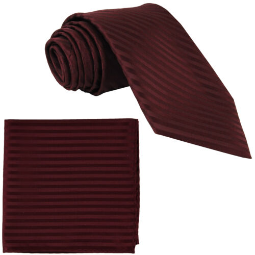 New Polyester Woven Men/'s Neck Tie necktie /& hankie set Stripes burgundy wedding