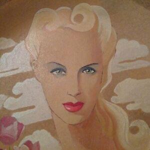 Grande-ceramique-Art-Deco-Maurice-Dard-grand-plat-signe-visage-femme-annees-40