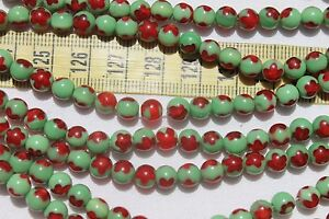 6mm-Round-Holiday-Lampwork-Glass-Beads-Green-amp-Trans-Red-Loose-50pcs