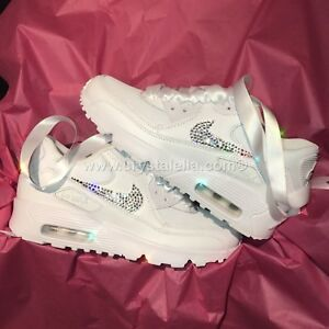 Customised Crystal Nike Air Max 90 s in White Nike Swarovski Crystal ... bfe0cc9d29