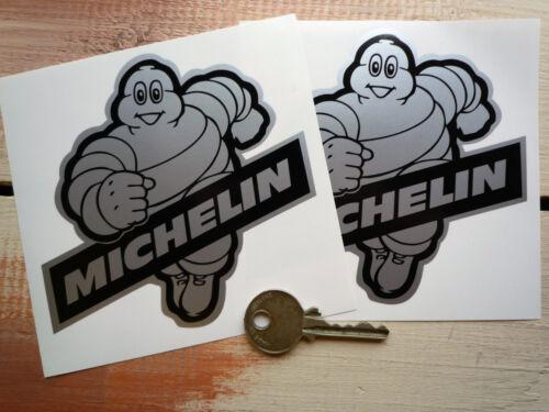 "MICHELIN BIBENDUM Black /& Silver Car STICKERS 4/"" Pair Range Rover Lotus Elise"