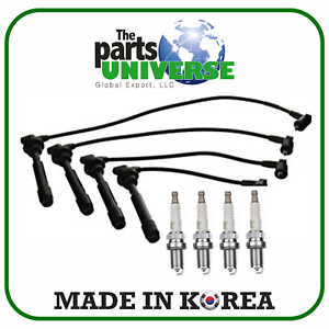 Spark Plug Wire Set /& 4 V-Power NGK Spark Plugs For Hyundai Accent 2001-2006 1.6