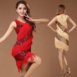 f4d74f5880dcd Latin Dance skirt Samba Cha Cha Tassel Dress Sequins Carnival fancy ...