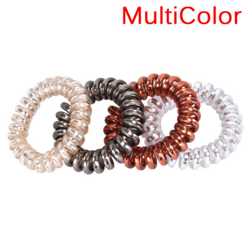 1x//5x Rubber Telephone Wire Hair Ties Spiral Slinky Hair Head Elastic Bands MEUS