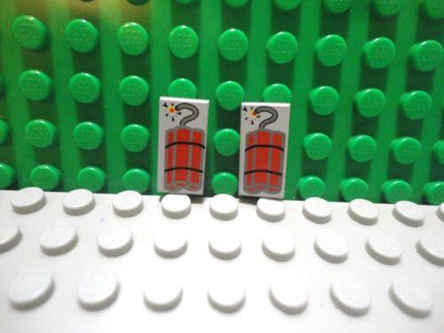 Lego 2 Classic Light Gray 1x2 printed tile Dynamite
