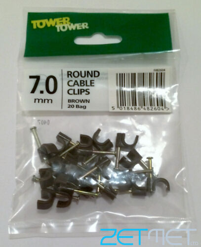 FREE P+P TOWER 7.0mm ROUND BROWN CABLE CLIPS WITH HARDENED FIXING STEEL NAILS