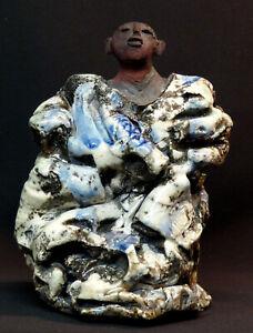 E-art-contemporain-superbe-sculpture-statuette-ceramique-Raku-2-2kg21cm-signee