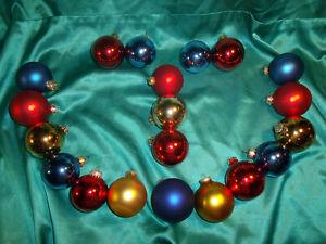 Konvolut-20-alte-Christbaumkugeln-Glas-rot-gold-blau-Vintage-Weihnachtskugeln