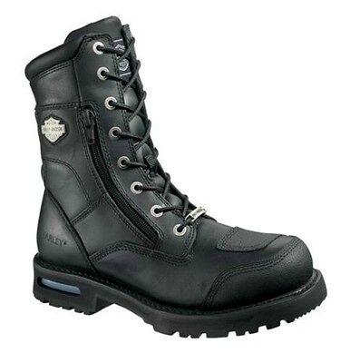 "Harley-Davidson® Men's 8"" Riddick Lace Up Black Leather Motorcycle Boots D98308"