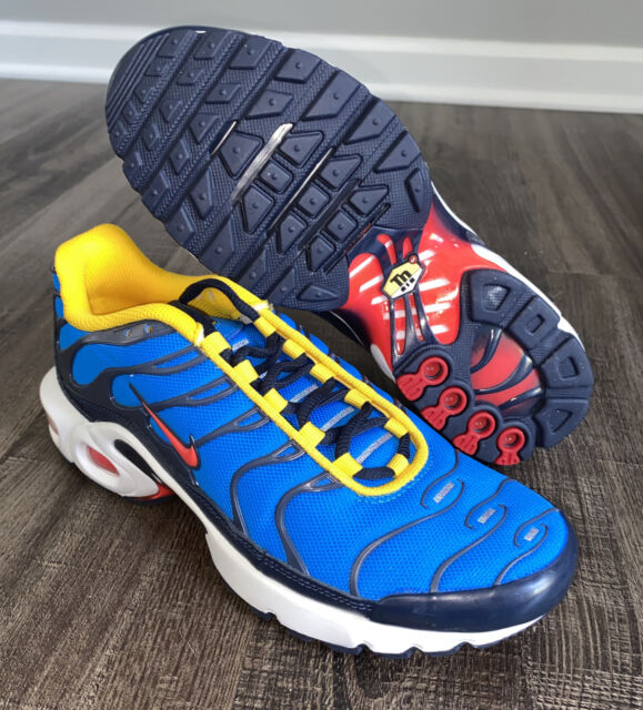Nike Size 6y Air Max Plus GS 6 Youth Photo Blue Crimson Gold ...
