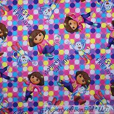 BonEful Fabric FQ Cotton Quilt Pink DORA Boots Monkey Sm Dot GIRL Retro Spanish