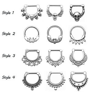 1PC-316L-Stainless-Steel-NOSE-SEPTUM-CLICKER-Nose-Ring-Hoop-Ear-Piercing-16G-14G