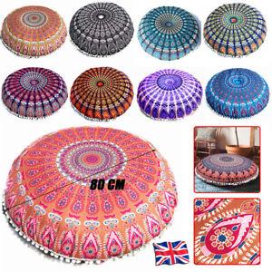 Large Mandala Floor Pillows Round Bohemian Meditation Seat Cushion Cover Pouf UK