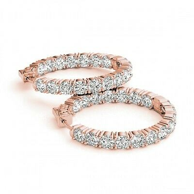5007. 5 CTW Diamond VS/SI Certified 21mm Hoop Earrings 14K Rose Gold - 290... Lot 5007