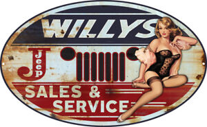 Jeep-Willys-Pin-Up-Girl-Metal-Sign-By-Steve-McDonald-11x18-Oval-RVG286-O18