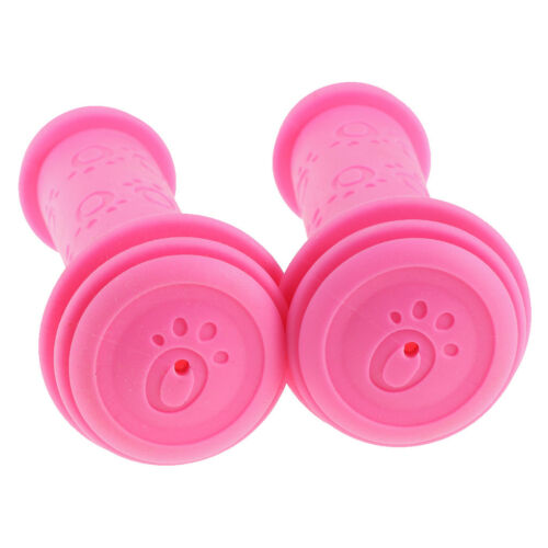 1 Pair Kids Bike Rubber Hand Grips Handle Bar Grip Protector Plugs Rose Red