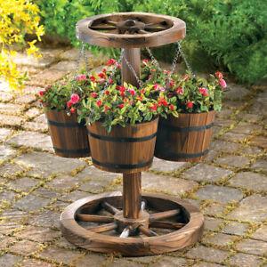 Beau Wagon Wheel 4 Bucket Planter Rustic Weathered LOOK Garden Decor