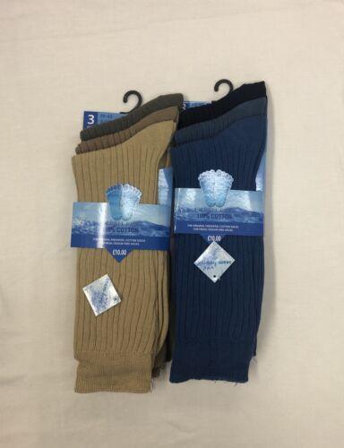 3,6/&12 Mens Fresh Feel Soft Comfort 100/% Cotton Elastic Socks 6//11