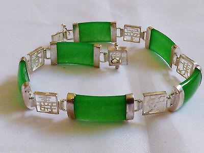"""Sterling Silver 925 Green Apple Jade link Bracelet 7.5""""L"""